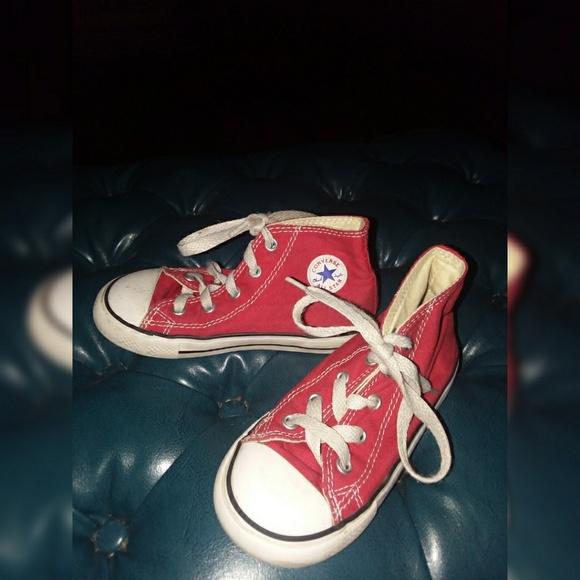 28568f11ccbc Converse Shoes | Red Chuck Taylor High Tops Sz 9 | Poshmark